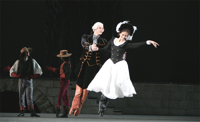 Bolshoi dancers Yuri Klevtsov and Anna Rebetskaya as the Count and his daughter in a past performance of Flames of Paris. Photo by Damir Yusupov, taken from the Bolshoi's website.