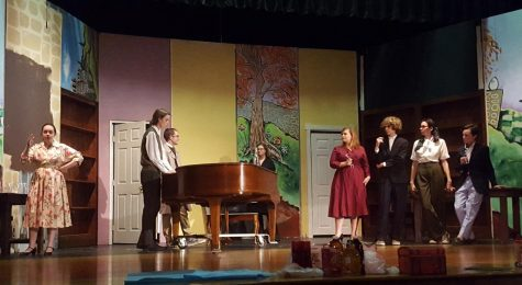 Perfecting Performances: Actors (left to right) Gabbi Stauffer (11), Eric Powers (11), Nick Shafer (12), Sydney Hardern (11), Karina Czeiszperger (12), Kevin Dayspring (10), Phoebe Martin (11), and Noah Smith (10) are pictured at a dress rehearsal one week before opening night.