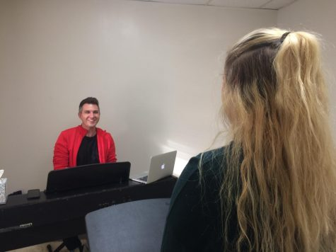 Philip Drennen instructs a vocal student at Singing Elephant Studios in Downtown Dayton.