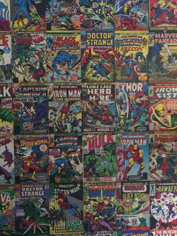 Comic Wall: A poster of Marvel Comics hangs in the wall of long-time fan Sam Sidhus (12) room.
