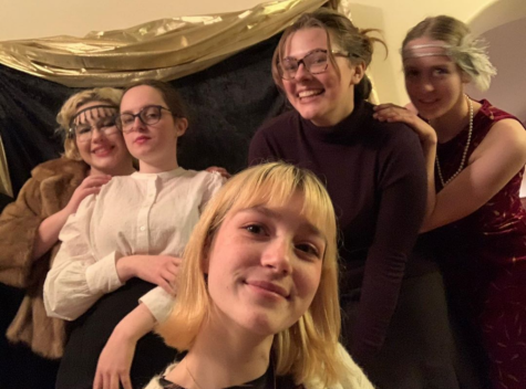 Roaring '20s: From left to right, seniors Miriam Sutch, Gabriella Stauffer, Evelyn Jones, Emma Grupe and Aviva Young bring in the new decade with 1920s style garb. Photo contributed by: Evelyn Jones.