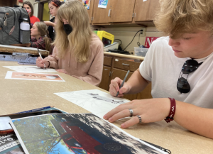 """Fostering Creativity: Art one students take advantage of the programs here at Oakwood and work on their projects in Art I. To some, the arts are the most important part of any high school education. Beth Stelling, Oakwood Alumnus said in a promotional video for FLOURISH, """"Truly, the arts at Oakwood meant everything to me."""""""